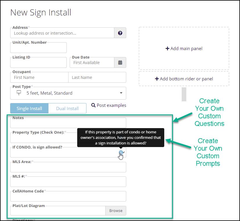 SignTraker Custom Question